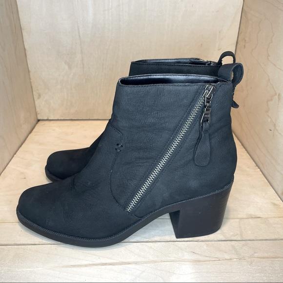 Crown Vintage Black Leather Heeled Booties